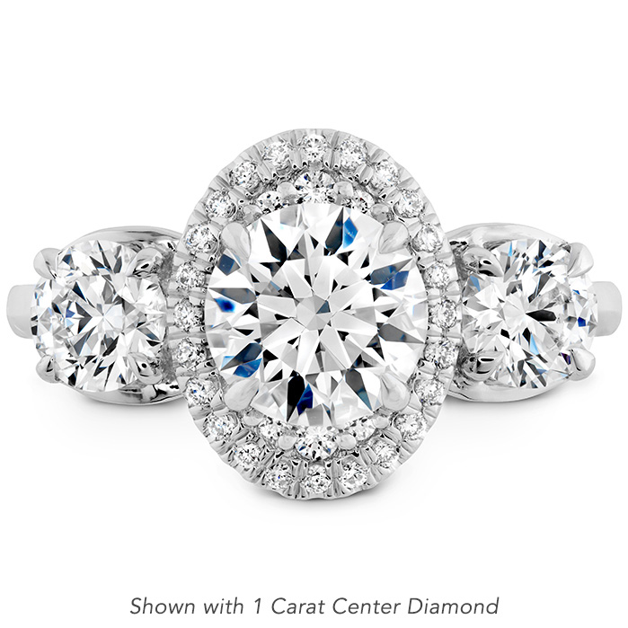 0.37 ctw. Juliette 3 Stone Oval Halo Engagement Ring in Platinum