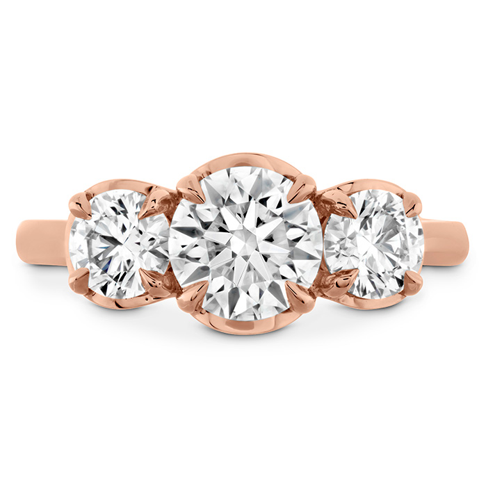 0.54 ctw. Juliette HOF Three Stone Semi-Mount in 18K Rose Gold