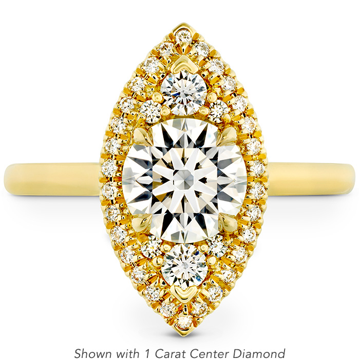 0.18 ctw. Juliette Marquise Halo Engagement Ring in 18K Yellow Gold