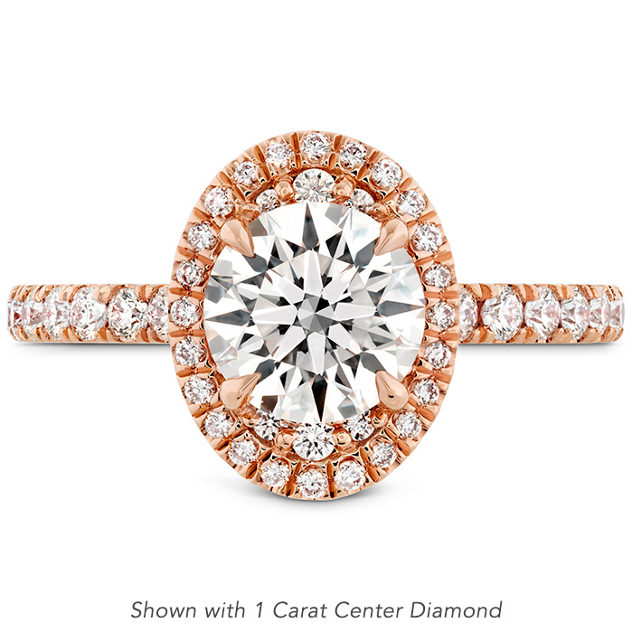 0.43 ctw. Juliette Oval Halo Diamond Engagement Ring in 18K Rose Gold