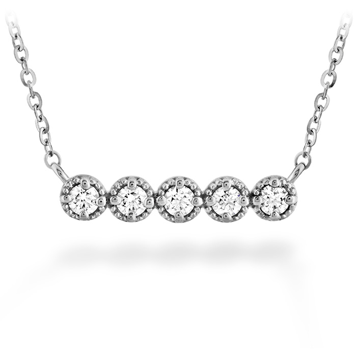 0.17 ctw. Liliana Milgrain Diamond Bar Necklace in 18K White Gold