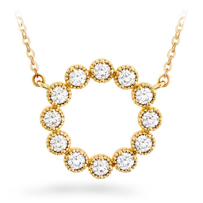 0.38 ctw. Liliana Milgrain Diamond Circle Pendant in 18K Yellow Gold