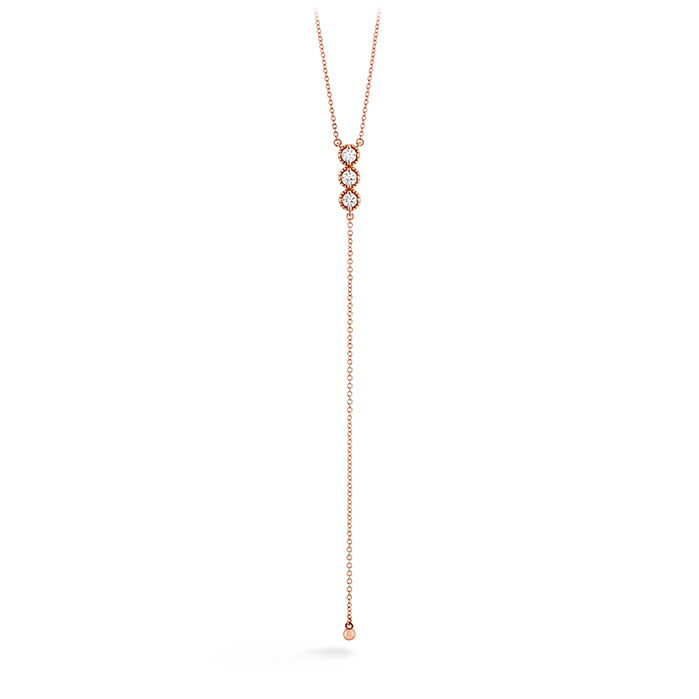 0.38 ctw. Liliana Milgrain Diamond Lariat Necklace in 18K Rose Gold