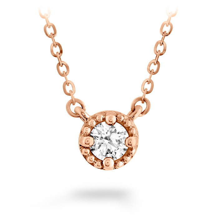 0.33 ctw. Liliana Milgrain Single Diamond Pendant in 18K Rose Gold