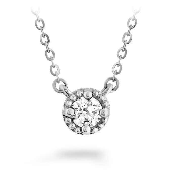 0.55 ctw. Liliana Milgrain Single Diamond Pendant in 18K White Gold