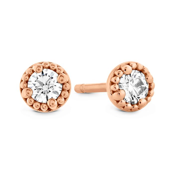 1.05 ctw. Liliana Milgrain Single Diamond Stud Earrings in 18K Rose Gold
