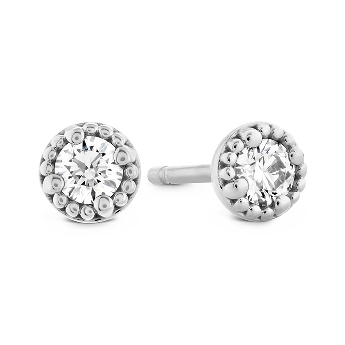 0.65 ctw. Liliana Milgrain Single Diamond Stud Earrings in 18K White Gold