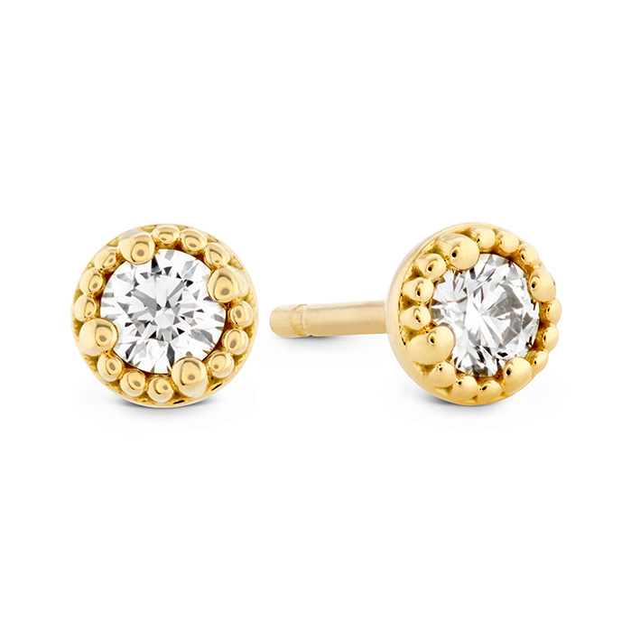 0.65 ctw. Liliana Milgrain Single Diamond Stud Earrings in 18K Yellow Gold