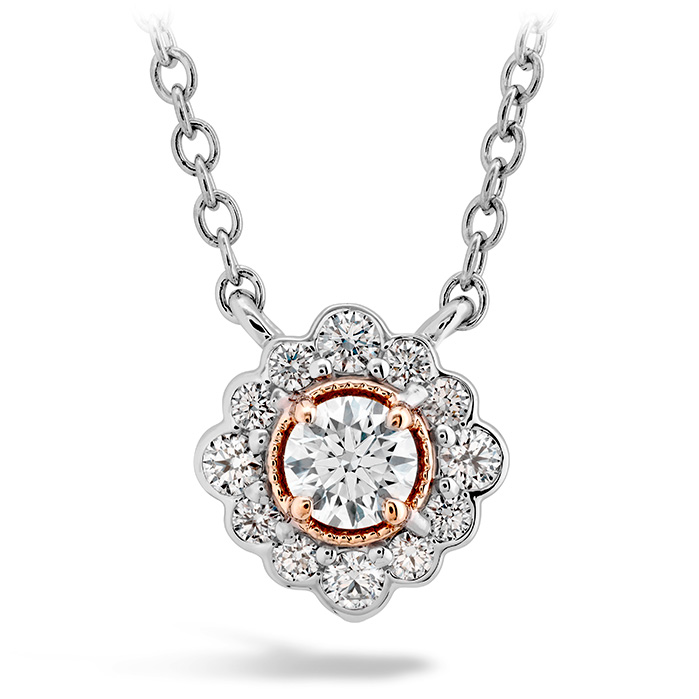 0.28 ctw. Liliana Flower Pendant in 18K Rose Gold w/Platinum