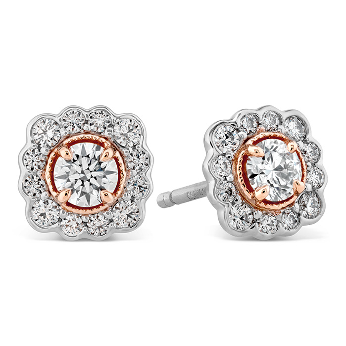 0.56 ctw. Liliana Flower Stud Earrings in 18K Rose Gold w/Platinum