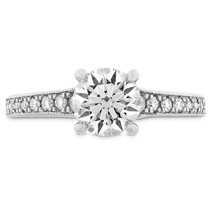 0.32 ctw. Liliana Milgrain Engagement Ring - Dia Band in 18K White Gold