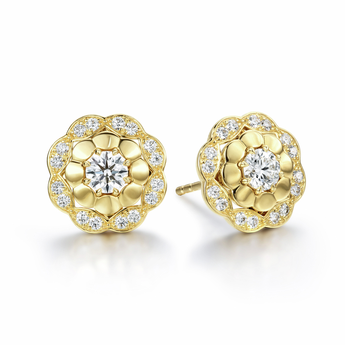 0.6 ctw. Lorelei Alternating Halo Stud Earrings in 18KR/PLAT