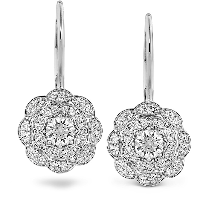 0.7 ctw. Lorelei Double Halo Diamond Drop Earrings in 18K Rose Gold