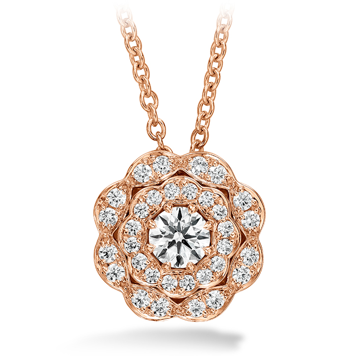 0.35 ctw. Lorelei Double Halo Diamond Pendant in 18K Rose Gold