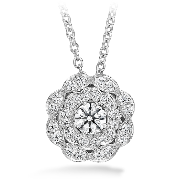 0.35 ctw. Lorelei Double Halo Diamond Pendant in 18K White Gold