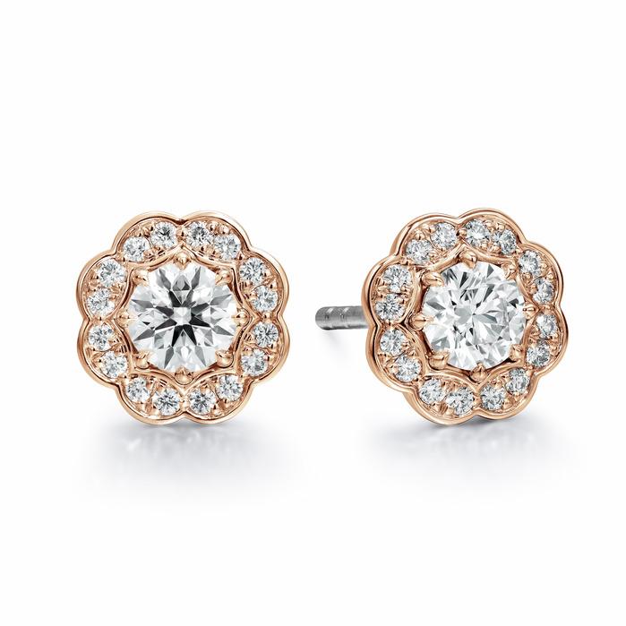 1 ctw. Lorelei Diamond Halo Stud Earrings in 18K Rose Gold