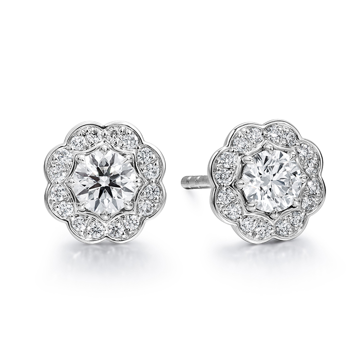 1 ctw. Lorelei Diamond Halo Stud Earrings in 18K White Gold