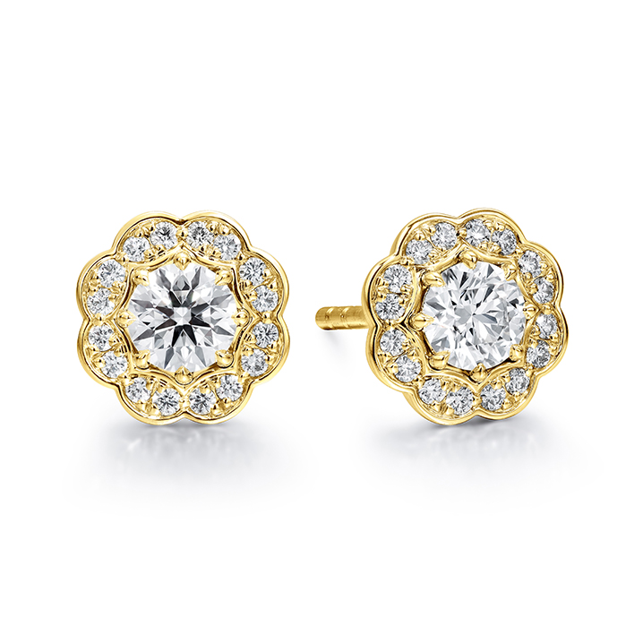 1 ctw. Lorelei Diamond Halo Stud Earrings in 18K Yellow Gold