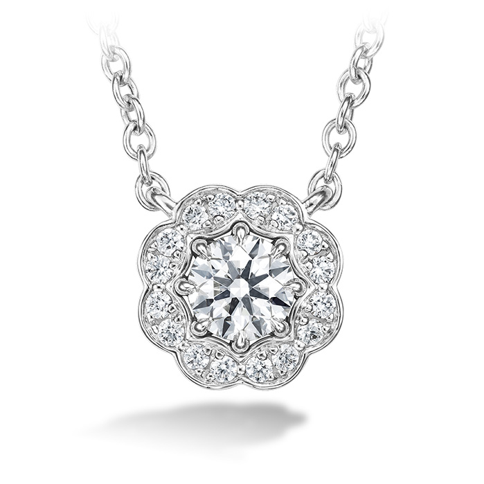 0.25 ctw. Lorelei Diamond Halo Pendant in 18K White Gold