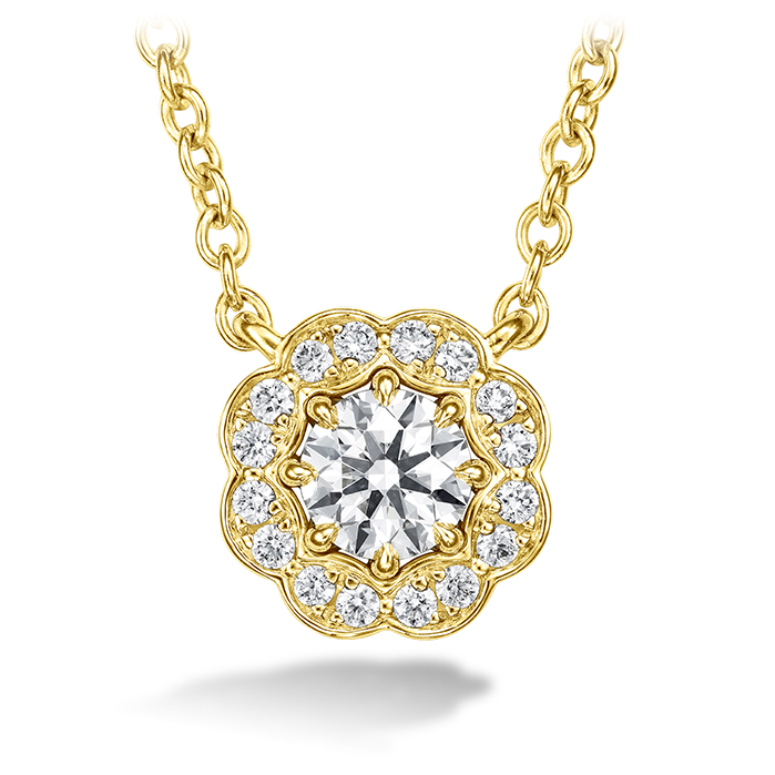 0.5 ctw. Lorelei Diamond Halo Pendant in 18K Yellow Gold