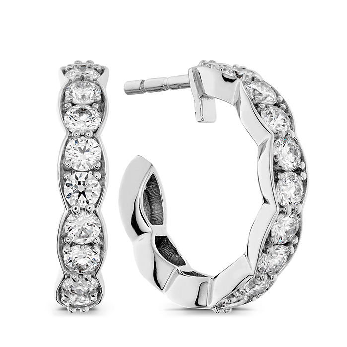 0.8 ctw. Lorelei Floral Hoop Earrings in 18K White Gold