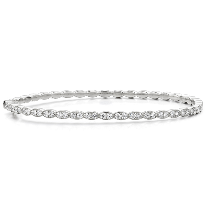 0.9 ctw. Lorelei Floral Diamond Bangle in 18K White Gold