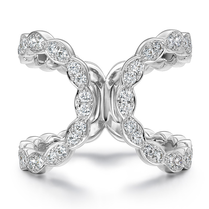0.55 ctw. Lorelei Floral Open Ring in 18K White Gold