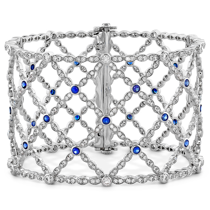 6.65 ctw. Lorelei Lattice Dia Sapphire Bangle in 18K White Gold
