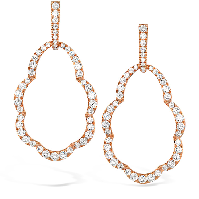 3.45 ctw. Lorelei Open Drop Diamond Earrings in 18K Rose Gold