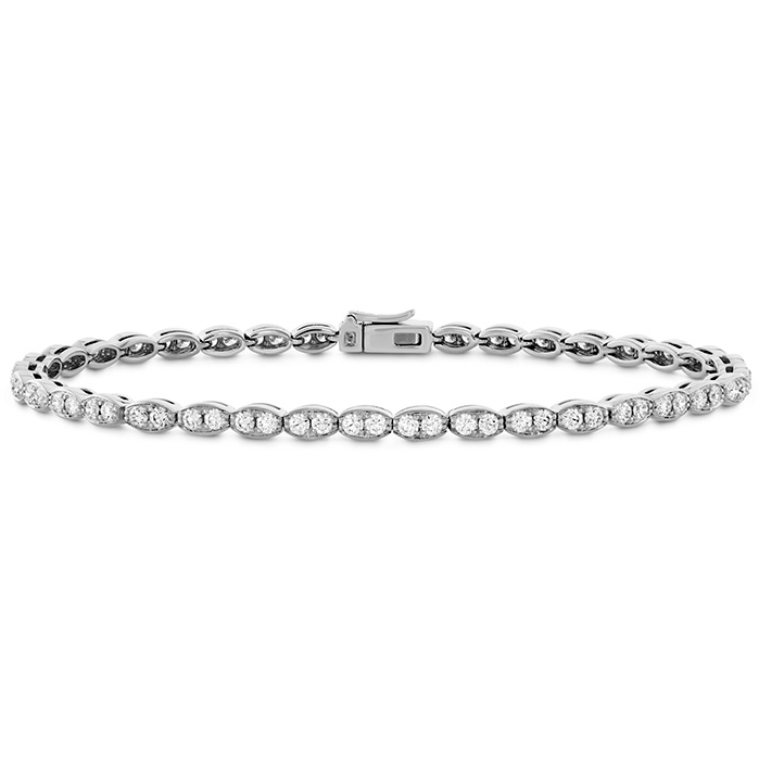1.95 ctw. Lorelei Floral Diamond Line Bracelet - S in 18K White Gold