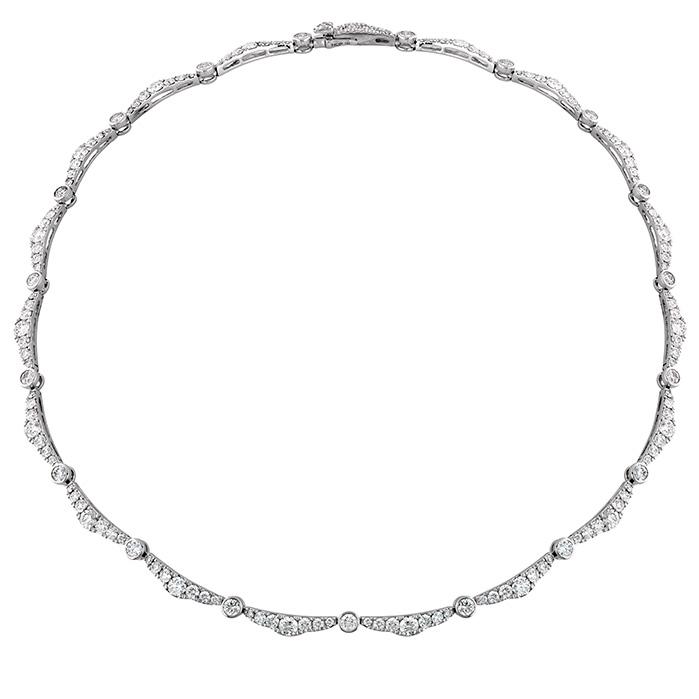 9.35 ctw. Lorelei Ribbon Diamond Line Necklace in 18K White Gold