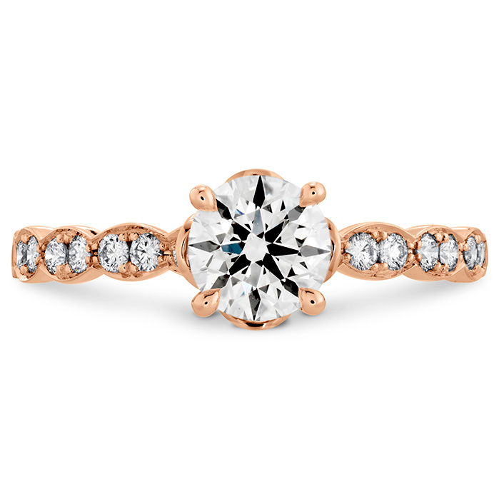 0.15 ctw. Lorelei Floral Engagement Ring-Diamond Band in 18K Rose Gold