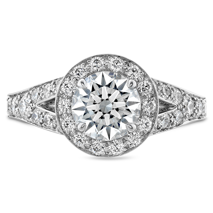 0.89 ctw. Luxe Transcend Premier HOF Halo Split Diamond Ring in Platinum