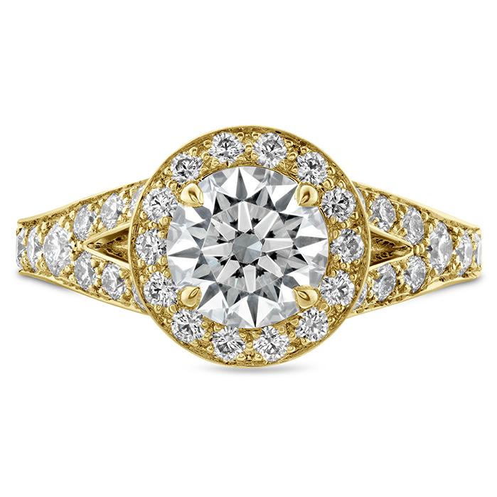 0.84 ctw. Luxe Transcend Premier HOF Halo Split Diamond Ring in 18K Yellow Gold
