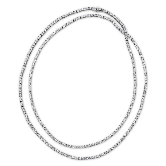 24.43 ctw. Signature Opera Length Line Necklace in 18K White Gold