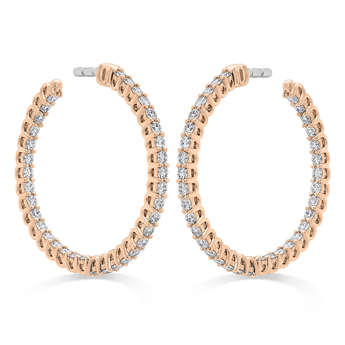 0.87 ctw. Signature Round Inside Out Hoop - Small in 18K Rose Gold