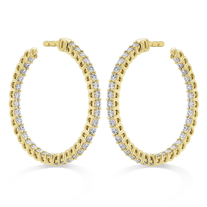 0.87 ctw. Signature Round Inside Out Hoop - Small in 18K Yellow Gold