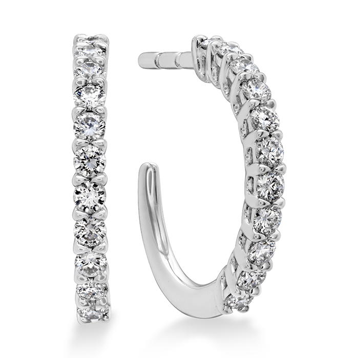 0.16 ctw. Signature Round Hoop - XSmall in 18K White Gold