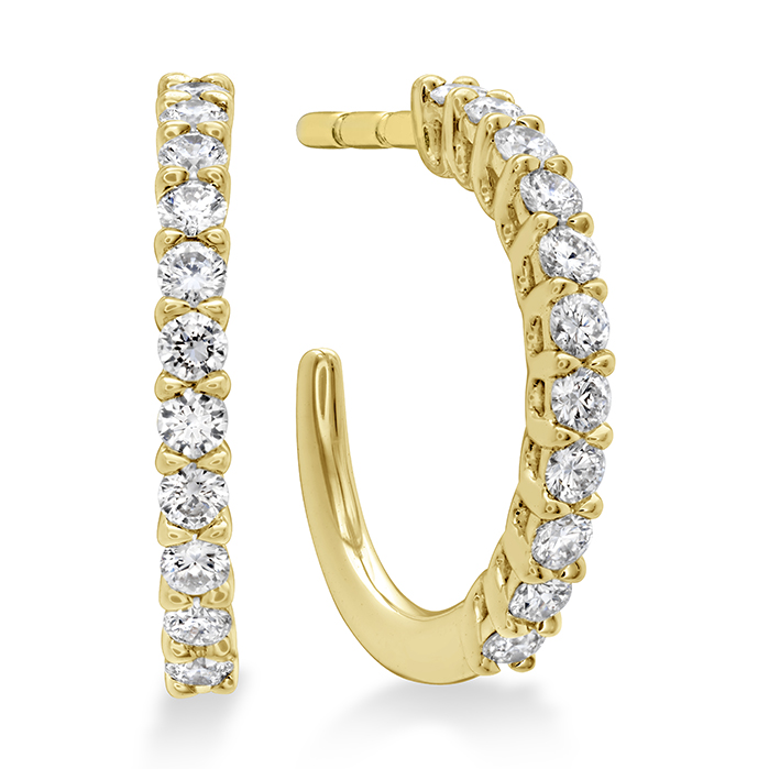 0.16 ctw. Signature Round Hoop - XSmall in 18K Yellow Gold
