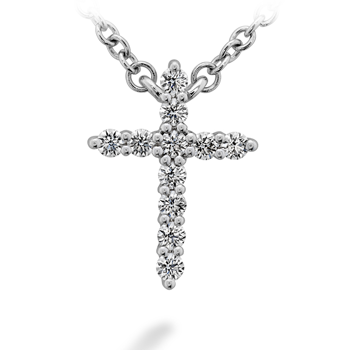 0.11 ctw. Signature Cross Pendant - Small in 18K White Gold