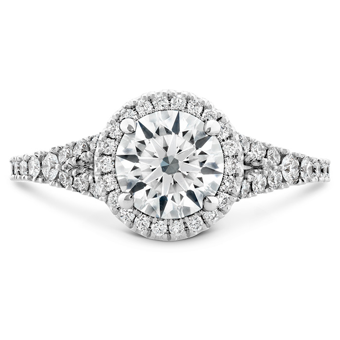 0.35 ctw. Transcend Premier HOF Halo Split Shank Engagement Ring in 18K White Gold