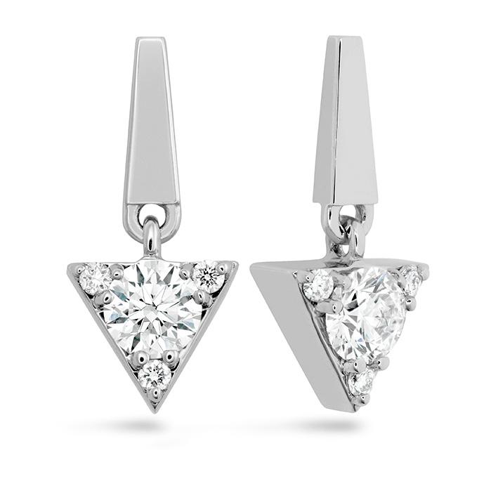 0.3 ctw. Triplicity Triangle Drop Earrings in 18K White Gold