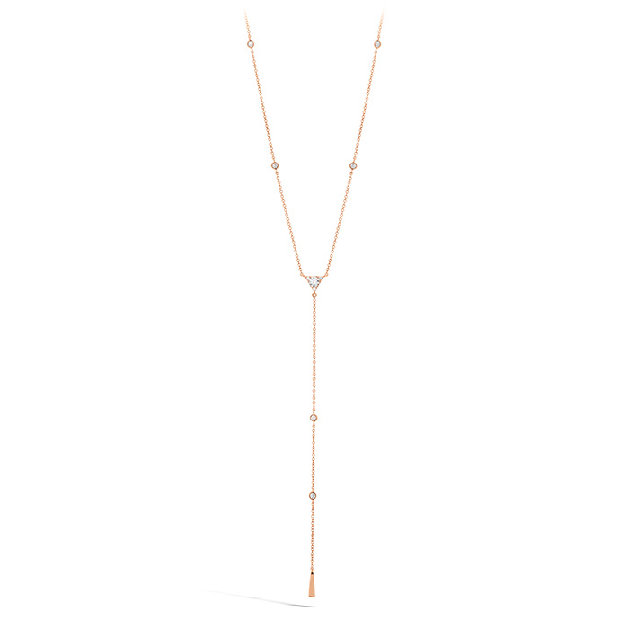0.42 ctw. Triplicity Triangle Lariat Necklace in 18K Rose Gold
