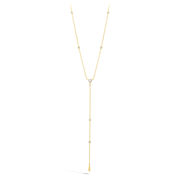 0.42 ctw. Triplicity Triangle Lariat Necklace in 18K Yellow Gold