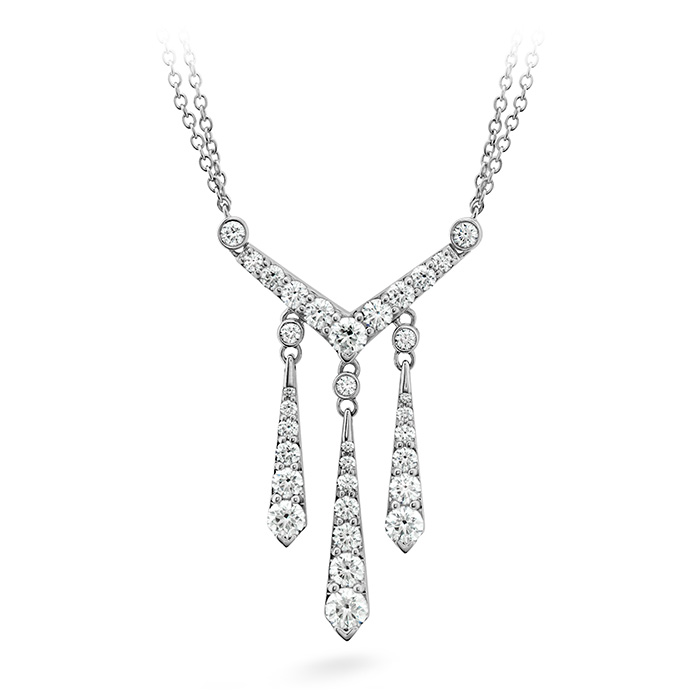 1.5 ctw. Triplicity Drop Necklace in 18K White Gold