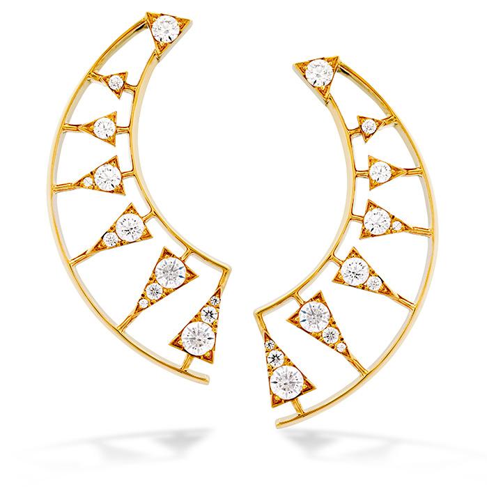 1.42 ctw. Triplicity Golden Earrings in 18K Yellow Gold