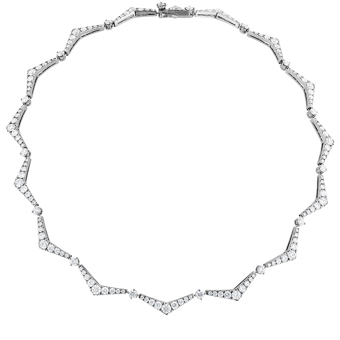 12.75 ctw. Triplicity Pointed Line Necklace in 18K White Gold