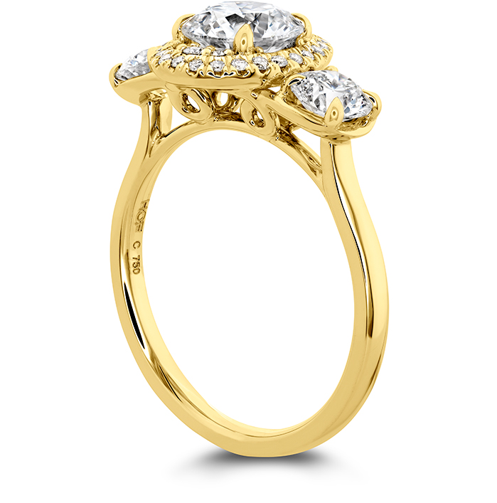 Juliette 3 Stone Oval Halo Engagement Ring
